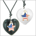 Proud USA Flag Super Star Charm Love Couples BFF Set Agate White Simulated Cats Eye Amulet Cord Necklaces