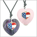 Proud USA Flag Super Heart Charm Love Couples or BFF Set Purple and Rose Quartz Amulet Cord Necklaces