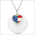 Proud American Flag Spirit Super Heart Lucky Charm White Quartz Spiritual Amulet 18 Inch Necklace