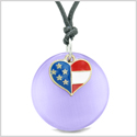 Proud American Flag Spirit Super Heart Charm Purple Simulated Cats Eye Spirit Amulet Adjustable Necklace