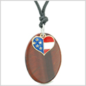 Proud American Flag Spirit Cute Super Heart Lucky Charm Red Tiger Eye Spirit Amulet Adjustable Necklace