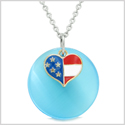 Proud American Flag Spirit Super Heart Charm Blue Simulated Cats Eye Spiritual Amulet 18 Inch Necklace
