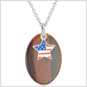 Proud American Flag Spirit Cute Super Star Lucky Charm Red Tiger Eye Spiritual Amulet 18 Inch Necklace