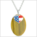 Proud American Flag Spirit Cute Super Heart Lucky Charm Tiger Eye Spiritual Amulet 18 Inch Necklace