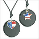 Proud American Flag Super Heart and Star Love Couples or BFF Set Black Agate Amulet Cord Necklaces