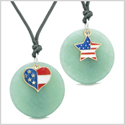 Proud American Flag Super Heart and Star Love Couples or BFF Set Green Quartz Amulet Cord Necklaces