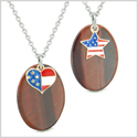 Proud American Flag Super Cute Heart and Star Love Couples BFF Set Red Tiger Eye Amulet Necklaces