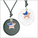 Proud American Flag Super Star Love Couples BFF Set Agate White Simulated Cats Eye Amulet Cord Necklaces