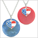 Proud American Flag Super Heart Love Couples or BFF Set Sodalite Red Quartz Amulet Necklaces