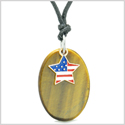 Proud American Flag Spirit Cute Super Star Lucky Charm Tiger Eye Spiritual Amulet Adjustable Necklace