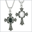 Magic Holy Cross Love Couples or Best Friends Set Simulated Onyx White Simulated Cats Eye Magic Necklaces