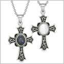 Magic Holy Cross Love Couples or Best Friends Set Blue Goldstone White Simulated Cats Eye Magic Necklaces
