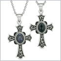Magic Holy Cross Love Couples or Best Friends Set Blue Goldstone Simulated Black Onyx Magic Necklaces