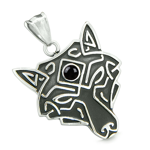 ef0616be2b Celtic Wolf Third Eye Protection Love Couple or Best Friends Set Simulated  Onyx Red Jasper Necklaces ...