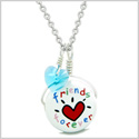Handcrafted Cute Ceramic Lucky Charm Best Friends Forever Blue Heart Amulet Pendant 18 Inch Necklace