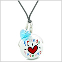 Handcrafted Cute Ceramic Lucky Charm Best Friends Forever Blue Heart Amulet Pendant Adjustable Necklace