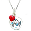 Handcrafted Cute Ceramic Lucky Charm Aqua Angel Stars Royal Red Heart Amulet Pendant 18 Inch Necklace