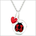 Handcrafted Cute Ceramic Lucky Charm Adorable Lady Bug Royal Red Heart Amulet Pendant 18 Inch Necklace