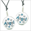 Love Couples or Best Friends Set Cute Ceramic Aqua Angel Stars Lucky Charm Amulet Adjustable Necklaces