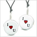 Love Couples or Best Friends Set Cute Ceramic I Love You Heart Lucky Charms Amulet Adjustable Necklaces