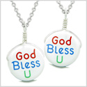 Love Couples or Best Friends Set Cute Ceramic God Bless You Lucky Charm Amulet Pendant Necklaces