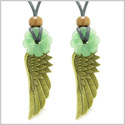 Guardian Angel Wings Amulets Love Couples or Best Friends Set Green Quartz Celtic Flower Donut Necklaces