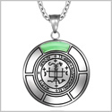 Sigil of Archangel Gabriel Magic Medallion Angel Amulet Green Simulated Cats Eye Pendant 18 inch Necklace