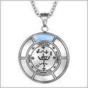 Sigil of Archangel Michael Magic Medallion Angel Amulet Blue Simulated Cats Eye Pendant 22 inch Necklace