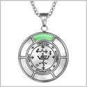 Sigil of Archangel Michael Magic Medallion Angel Amulet Green Simulated Cats Eye Pendant 22 inch Necklace
