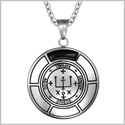 Sigil of Archangel Raphael Magic Medallion Angel Amulet Simulated Black Onyx Pendant 18 inch Necklace