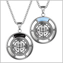 Sigil of Archangel Raphael Love Couples Amulet Set Simulated Onyx Sky Blue Simulated Cats Eye Necklaces