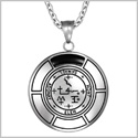 Sigil of Archangel Samael Magic Medallion Angel Amulet Simulated Black Onyx Pendant 22 inch Necklace