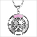 Sigil of Archangel Samael Magic Medallion Angel Amulet Pink Simulated Cats Eye Pendant 22 inch Necklace