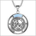 Sigil of Archangel Samael Magic Medallion Angel Amulet Blue Simulated Cats Eye Pendant 22 inch Necklace