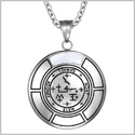 Sigil of Archangel Samael Magic Medallion Angel Amulet White Simulated Cats Eye Pendant 22 inch Necklace