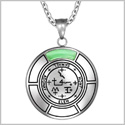 Sigil of Archangel Samael Magic Medallion Angel Amulet Green Simulated Cats Eye Pendant 22 inch Necklace