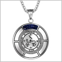 Sigil of Archangel Samael Magic Medallion Angel Amulet Blue Goldstone Pendant 22 inch Necklace