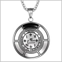 Sigil of Archangel Thavael Magic Medallion Angel Amulet Simulated Black Onyx Pendant 22 inch Necklace