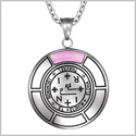 Sigil of Archangel Thavael Magic Medallion Angel Amulet Pink Simulated Cats Eye Pendant 22 inch Necklace