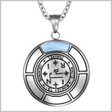 Sigil of Archangel Thavael Magic Medallion Angel Amulet Blue Simulated Cats Eye Pendant 22 inch Necklace