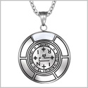 Sigil of Archangel Thavael Magic Medallion Angel Amulet White Simulated Cats Eye Pendant 22 inch Necklace