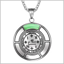 Sigil of Archangel Thavael Magic Medallion Angel Amulet Green Simulated Cats Eye Pendant 22 inch Necklace