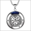 Sigil of Archangel Thavael Magic Medallion Angel Amulet Blue Goldstone Pendant 22 inch Necklace