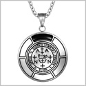 Sigil of Archangel Zadkiel Magic Medallion Angel Amulet Simulated Black Onyx Pendant 22 inch Necklace