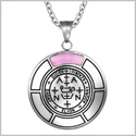 Sigil of Archangel Zadkiel Magic Medallion Angel Amulet Pink Simulated Cats Eye Pendant 22 inch Necklace