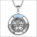 Sigil of Archangel Zadkiel Magic Medallion Angel Amulet Blue Simulated Cats Eye Pendant 22 inch Necklace