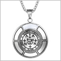 Sigil of Archangel Zadkiel Magic Medallion Angel Amulet White Simulated Cats Eye Pendant 22 inch Necklace