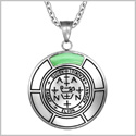 Sigil of Archangel Zadkiel Magic Medallion Angel Amulet Green Simulated Cats Eye Pendant 22 inch Necklace