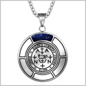 Sigil of Archangel Zadkiel Magic Medallion Angel Amulet Blue Goldstone Pendant 18 inch Necklace