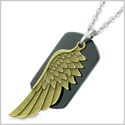 Amulet Guardian Angel Wing Magical Protection Powers Black Agate Tag Pendant 18 Inch Necklace
